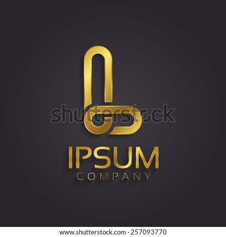 Beautiful vector graphic gold alphabet / letter L / symbol  - stock vector