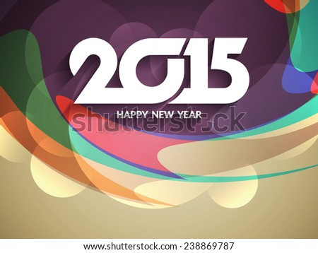 Beautiful vector greeting card design for happy new year 2015.