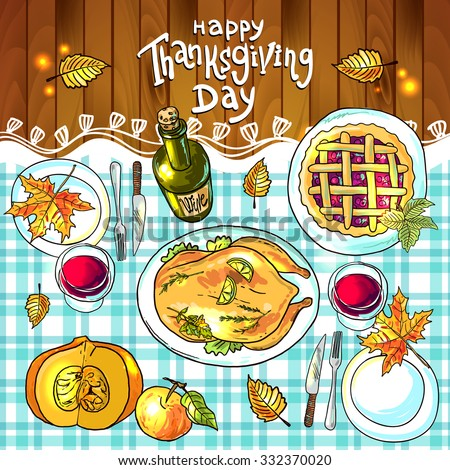 Beautiful vector hand drawn illustration thanksgiving dinner - stock vector