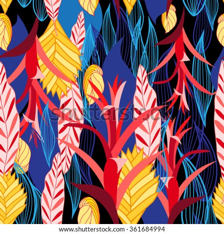beautiful vector illustration multicolored pattern of plants - stock vector