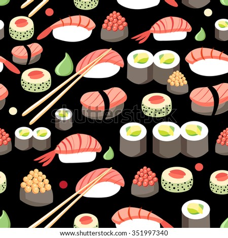 Beautiful vector illustration of delicious Japanese sushi  pattern - stock vector