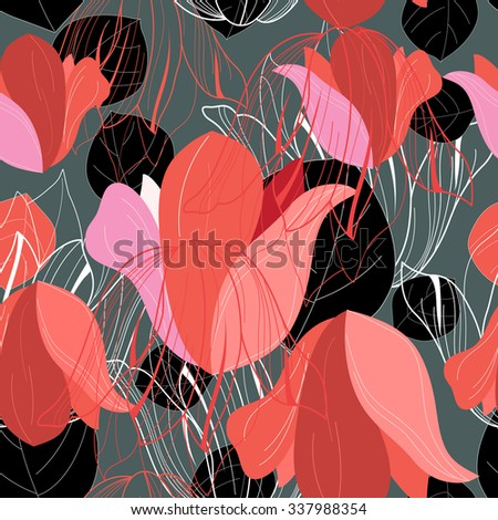 Beautiful vector illustration pattern of red leaf - stock vector