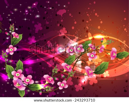 beautiful vector illustration with flowers  - stock vector