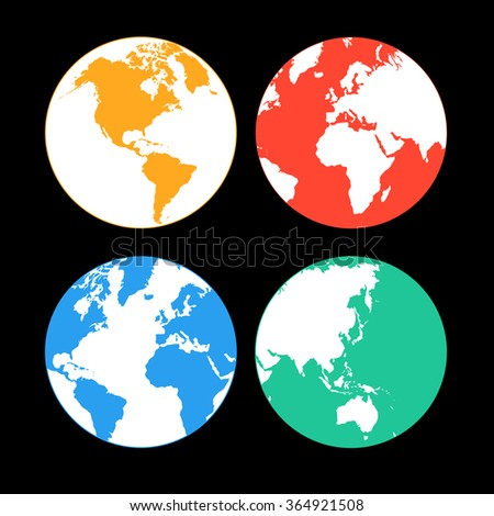 Beautiful vector illustration with multi-colored Earth continents - stock vector