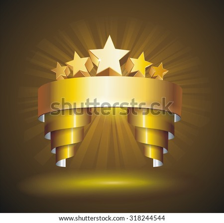 Beautiful vector label sign with stars and gold ribbon - stock vector