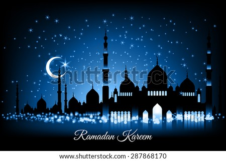 Beautiful vector landscape greeting card design template on Generous Ramadan with mosque silhouettes on blue night sky, moon and stars. The meaning of Ramadan Kareem is Ramadan The Generous Month - stock vector