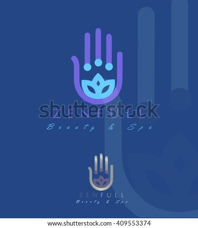 Beautiful VECTOR LOGO / SYMBOL  of a lotus flower inside a hamsa hand  - stock vector
