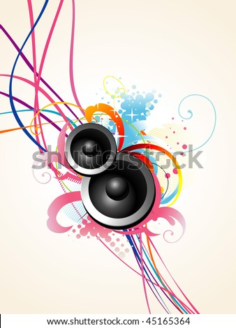 beautiful vector musical speaker design with artistic background