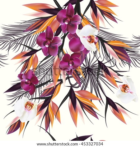 Beautiful vector pattern with tropical plants orchids and palm leafs. Ideal for fabric prints patterns - stock vector