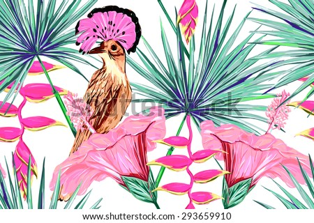 Beautiful vector seamless floral jungle pattern background. Exotic bird, watercolor colorful tropical flowers and palm leaves, hibiscus, exotic print - stock vector