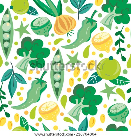 stock vector beautiful vector seamless pattern of vegetables bright illustration can be used for menu 218704804 - Каталог — Фотообои «Еда, фрукты, для кухни»