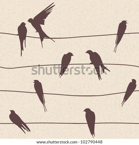 Beautiful vector seamless pattern with birds sitting on wires - stock vector
