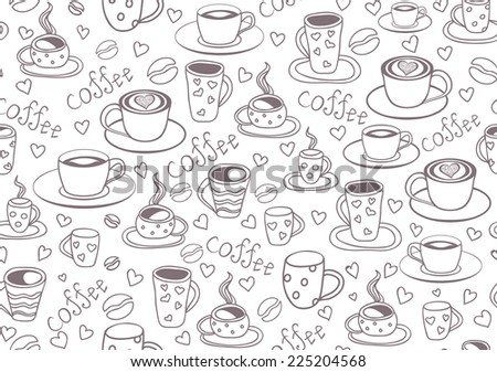 Beautiful vector seamless pattern with coffee cups and coffee beans - stock vector