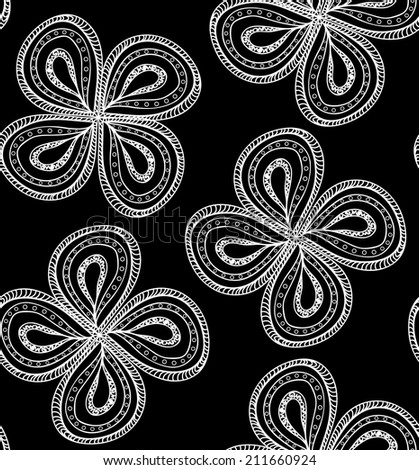 Beautiful vector seamless pattern with figured flowers - stock vector