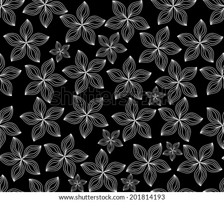 Beautiful vector seamless pattern with white figured flowers