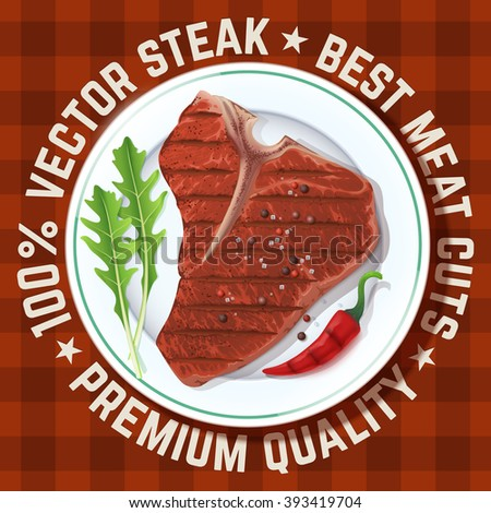 Beautiful vector steak served on plate decorated with red pepper, arugula and spices. - stock vector
