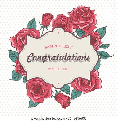 Beautiful Vector Vintage Roses Invitation Card - stock vector