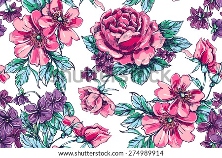 Beautiful vector vintage seamless floral pattern background. Bouquets of roses and violets - stock vector