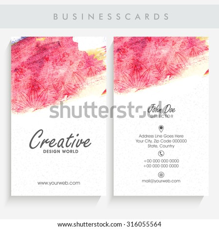 Beautiful vertical business card or visiting card set decorated with colorful splash and floral pattern. - stock vector