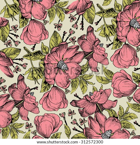 Beautiful vintage background with white flowers. Freehand. Drawing, engraving. Flora. Blooming flowers of wild rose. Vector stock Illustration. Rosehips. Brier. - stock vector