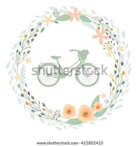 Beautiful vintage bicycle with floral wreath frame - stock vector