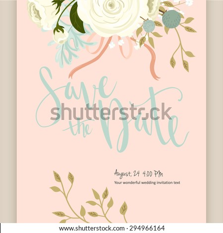 Beautiful  vintage card. Floral frame, can be used as greeting card,invitation card for wedding,birthday and other holiday. Cute  rose composition with flowers, leaves and herbs. - stock vector