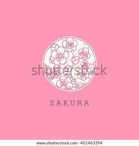 Beautiful vintage card with flower pastel colors. Black and white background of the Japanese sakura. Menu, save the date, guest card design. Pink abstract exotic flowers. Vector floral illustration - stock vector