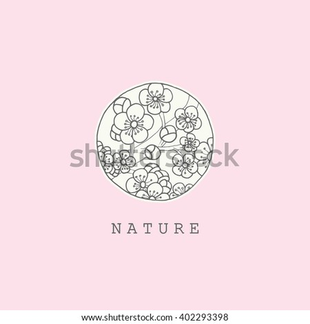 Beautiful vintage card with flower pastel colors. Black and white background of the Japanese sakura style. Menu, save the date, guest card. Pink abstract exotic flowers. Vector floral illustration - stock vector