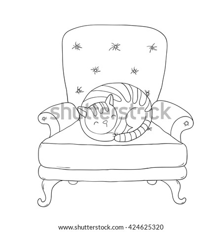 Beautiful vintage chair and a cute cat. Hand drawing isolated objects on white background. Vector illustration. Coloring book - stock vector