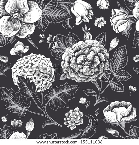 Beautiful Vintage Floral Seamless Pattern Garden Roses Hydrangea And Dog Rose Flower On