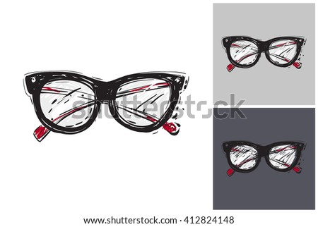Beautiful vintage glasses vector hand drawn fashion sketch. Label with glamour vogue vintage glasses. Isolated element on white, gray and black background. Fashion vector illustration. - stock vector