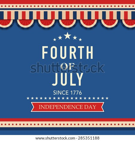 Beautiful vintage greeting card in national flag color for 4th of July, American Independence Day celebration. - stock vector