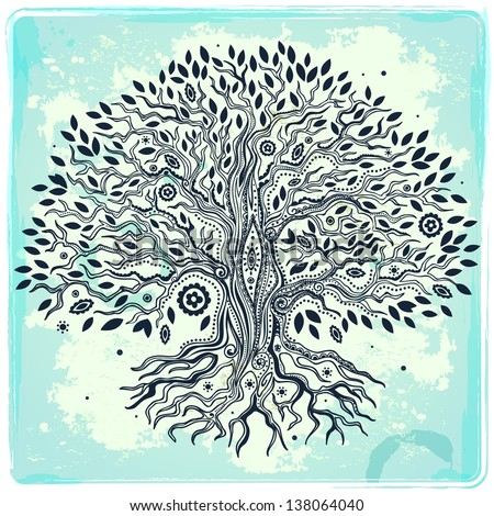 Beautiful vintage hand drawn tree of life - stock vector