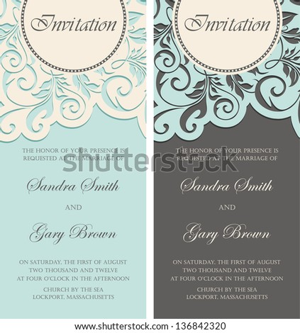 Beautiful vintage invitations set. Vector illustration