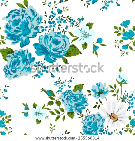 Beautiful vintage seamless floral pattern background. Flower bouquets of roses on white background - stock vector