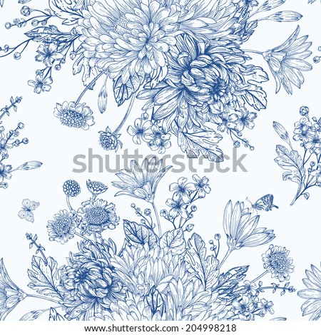 Beautiful vintage seamless pattern with  bouquets of blue flowers. Garden asters, chrysanthemums, daisies. Vector monochrome illustration. - stock vector