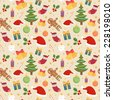Beautiful vintage seamless pattern with christmas symbols - stock vector