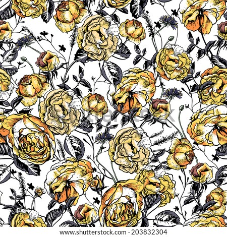 Beautiful Vintage Seamless Roses Background. Roses romantic flowers pattern