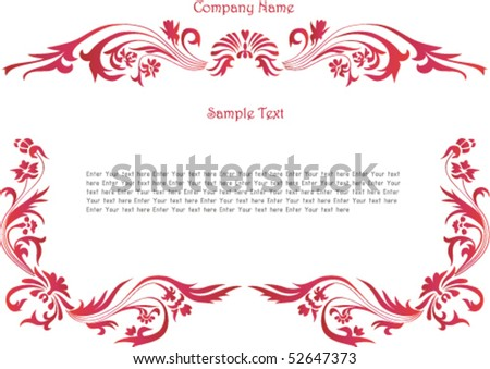 beautiful vintage template background with floral ornament. all detail are separated. It easy to regroup, recolor, mirorred part, or do any changes - stock vector
