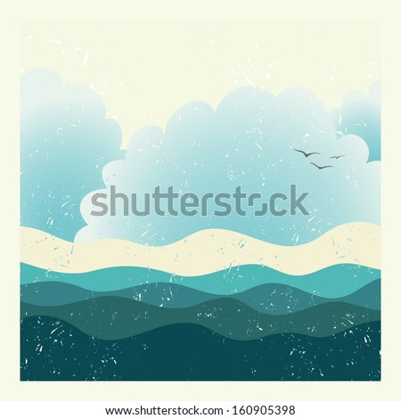 Beautiful vintage travel postcard. Perfect vacation design. Cute fully editable ocean illustration drawn in vector by hand.  - stock vector