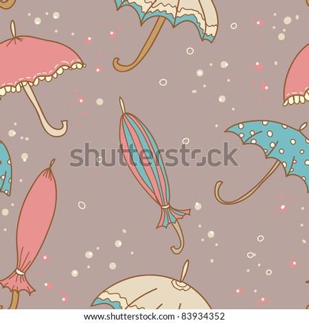 beautiful vintage umbrella seamless pattern - stock vector