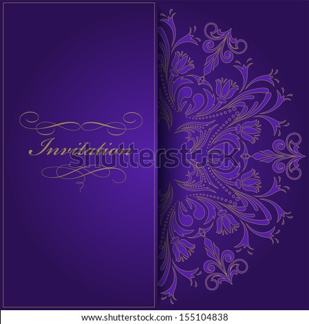 beautiful violet invitation with a round vintage ornament