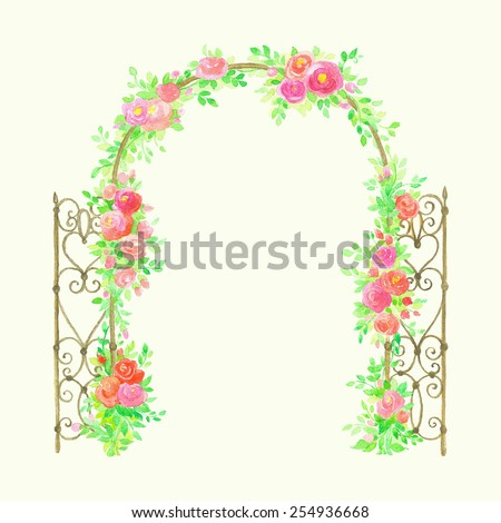 Beautiful watercolor arch with blooming roses. - stock vector