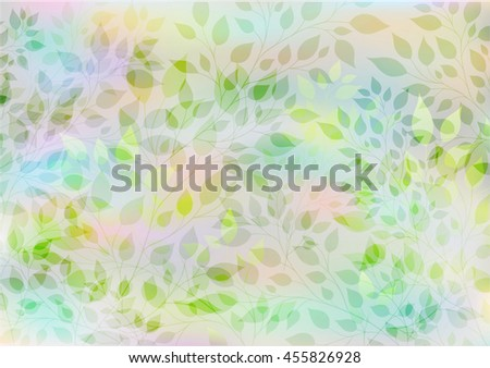 Beautiful watercolor background of stylized branches with leaves