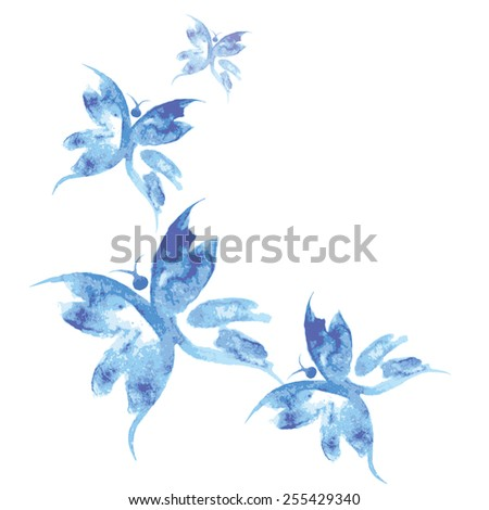 Beautiful watercolor butterflies pattern,background, vector illustration - stock vector