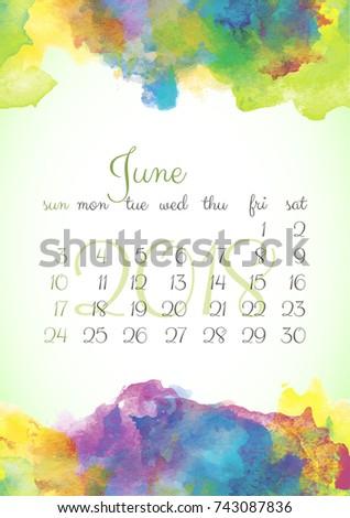 Beautiful Watercolor Calendar Template 2018 Year Stock Vector Hd