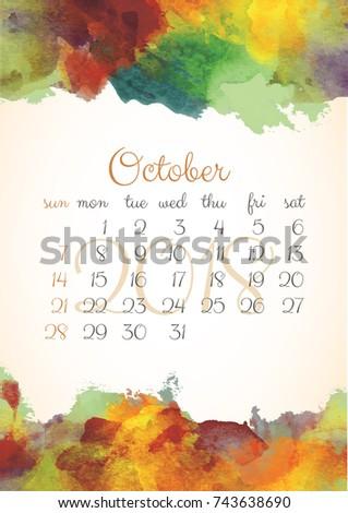 Beautiful Watercolor Calendar Template 2018 Year Stock Vector