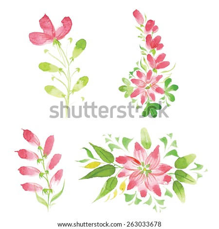 beautiful watercolor floral sprigs of different styles - stock vector
