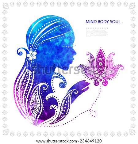 Beautiful watercolor Girl's silhouette  with some floral ornaments - stock vector