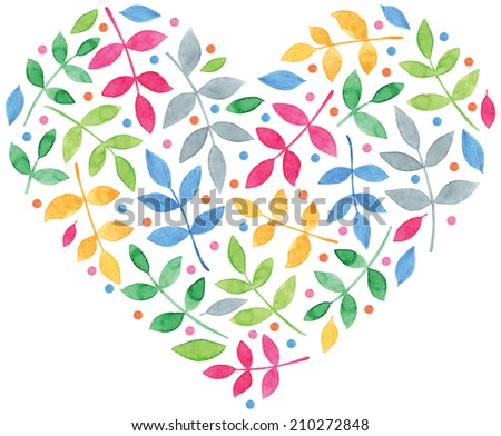 beautiful watercolor leaves in the shape of heart vector for romantic design - stock vector